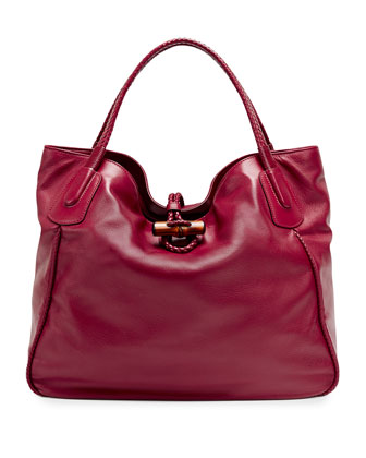Hip Bamboo Leather Tote Bag, Dark Red