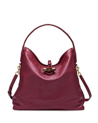 Hip Bamboo Leather Shoulder Bag, Dark Red