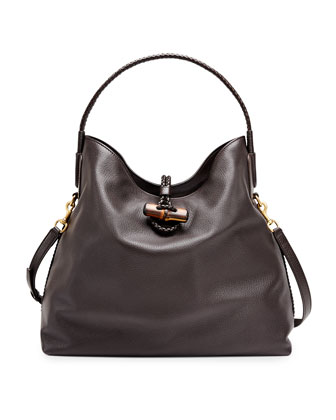 Hip Bamboo Leather Shoulder Bag, Dark Brown
