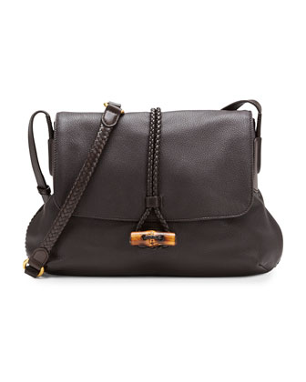 Hip Bamboo Leather Flap Shoulder Bag, Dark Brown