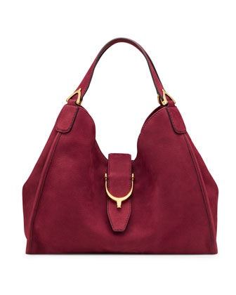 Soft Stirrup Suede Medium Shoulder Bag, Dark Red