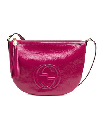 Soho Small Patent Leather Messenger Bag, Fuchsia