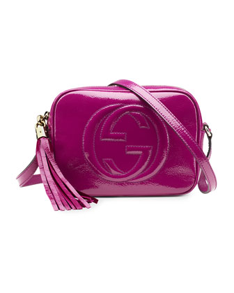 Soho Small Patent Leather Disco Bag, Fuchsia