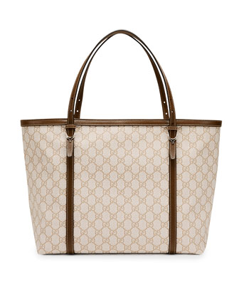 Gucci Nice GG Supreme Canvas Tote Bag, White/Tan