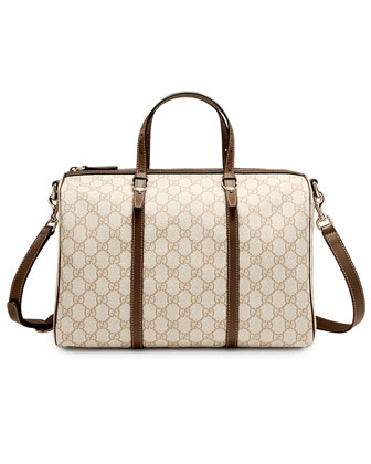 Gucci Nice GG Supreme Canvas Boston Bag, White/Tan