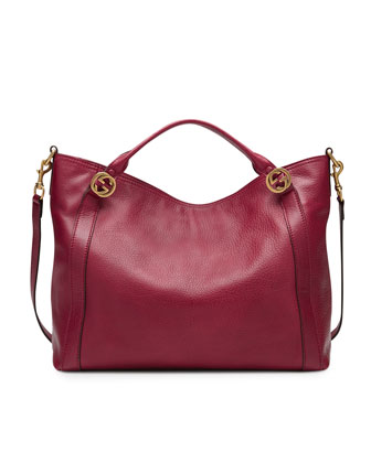 Miss GG Medium Leather Top Handle Bag, Dark Red