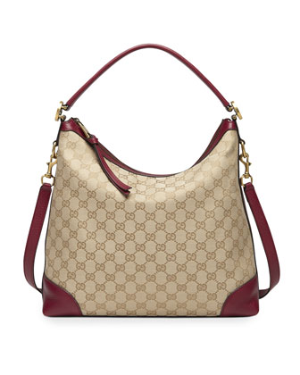 Miss GG Small Original GG Canvas Hobo, Tan/Dark Red