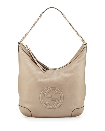 Soho Medium Metallic Hobo Bag, Gold
