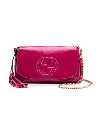 Soho Medium Patent Leather Shoulder Bag, Fuchsia