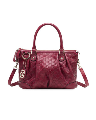 Sukey Guccissima Leather Top Handle Medium Bag, Dark Red