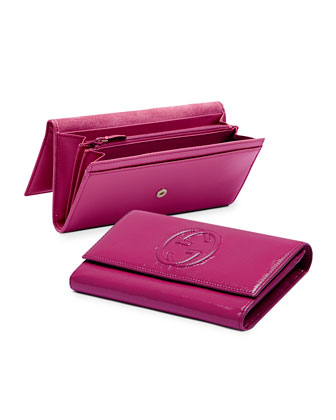 Soho Patent Leather Continental Wallet, Fuchsia