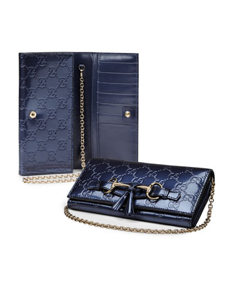 Emily Flap Wallet on Chain, Blue