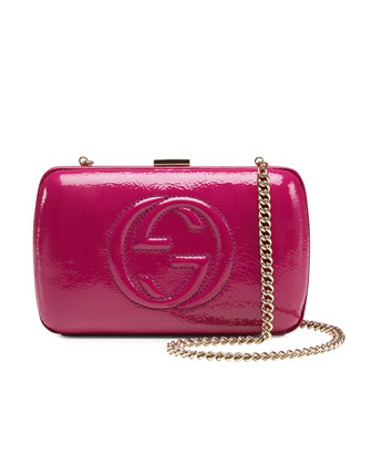 Broadway Patent Leather Minaudiere Clutch, Fuchsia