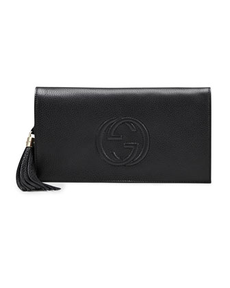 Soho Leather Clutch Bag, Black