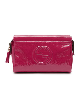 Soho Patent Leather Cosmetic Case, Fuchsia