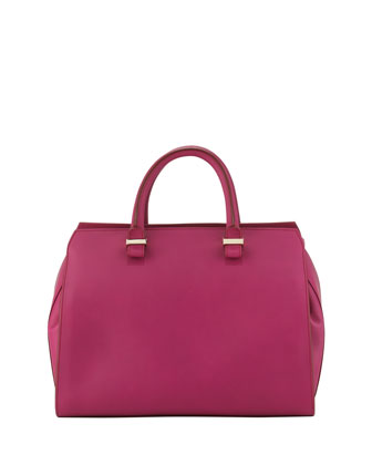 The Victoria Soft Leather Satchel Bag, Magenta