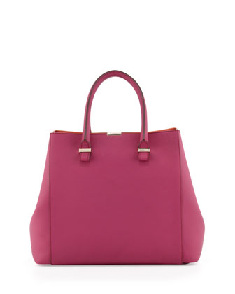 Liberty Structured Tote Bag, Magenta/Tangerine