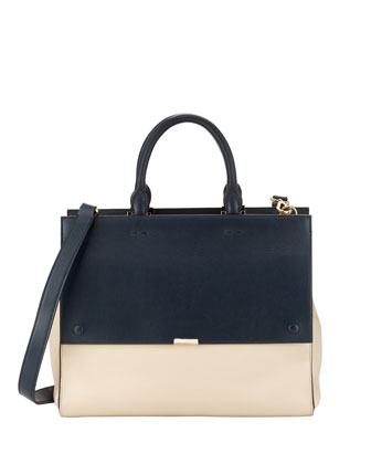 Soft Colorblock Leather Tote Bag
