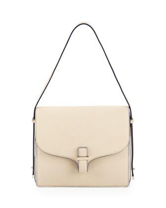 Harper Leather Flap Shoulder Bag, Beige