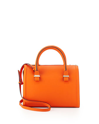 Seven Structured Satchel Bag, Tangerine