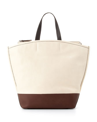 Northeast Colorblock Tote Bag, White/Brown