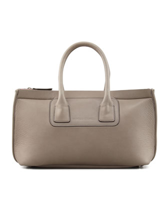 Neoprene/Leather Tote Bag, Dark Gray