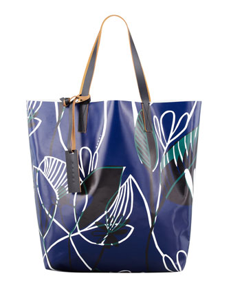 Floral-Print PVC Shopping Bag, Blue