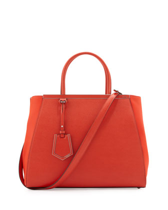 2Jours Vitello Elite Medium Tote Bag, Red Orange