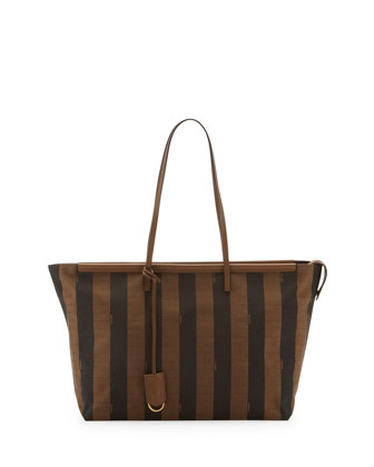 Medium Pequin-Stripe Tote Bag, Brown/Forest Green