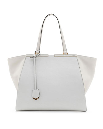 Trois-Jour Grande Leather Tote Bag, White