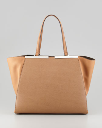 Trois-Jour Leather Tote Bag, Brown