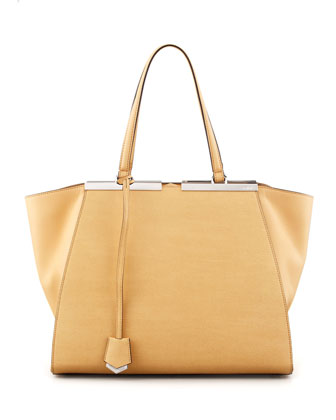 Trois-Jour Leather Tote Bag, Yellow