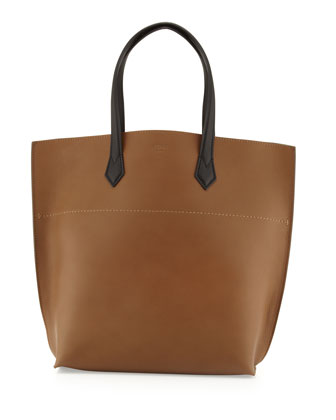 All In Leather Tote Bag, Brown/Black