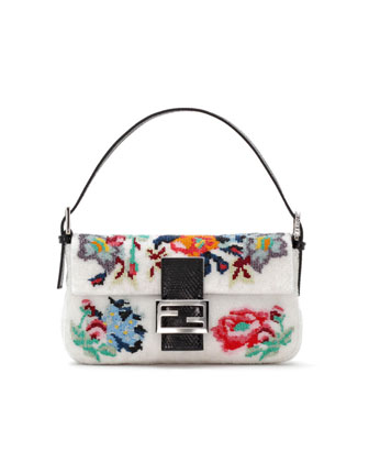 Baguette Floral Needlepoint Bag