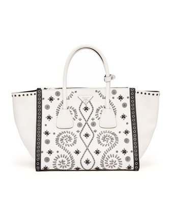 Embroidered Saffiano Twin Pocket Tote Bag, White/Gray (Bianco+Marmo)