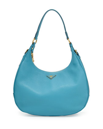 Vitello Daino Zip-Top Hobo Bag, Light Blue (Voyage)