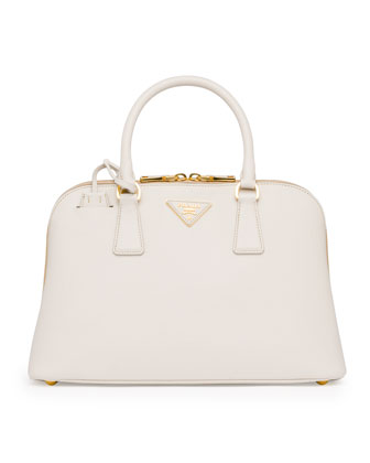 Medium Saffiano Promenade Bag,White (Talco)