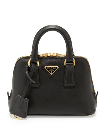 Mini Saffiano Promenade Bag, Black (Nero)