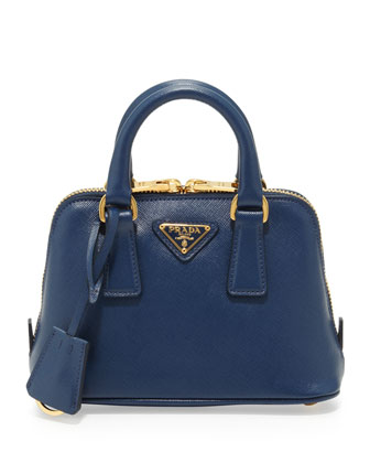 Saffiano Mini Promenade Crossbody Bag, Blue (Bluette)