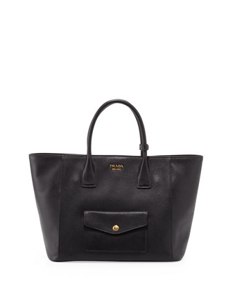 Saffiano Cuir Front-Pocket Tote Bag, Black