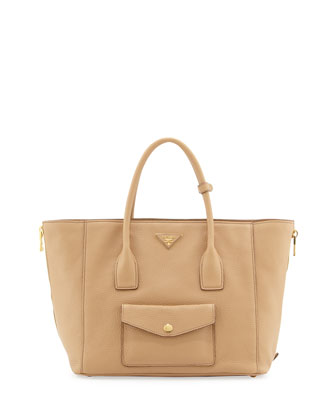 Daino Side-Zip Twin Pocket Tote Bag, Tan (Nocciola)