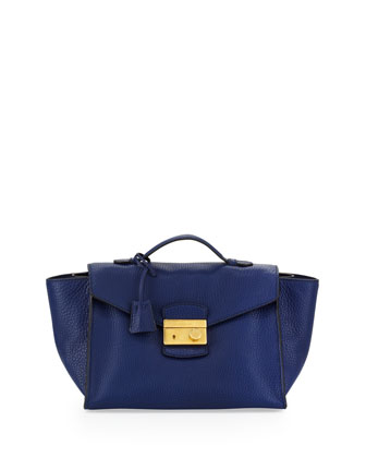Daino Twin Pocket Satchel Bag, Dark Blue (Inchiostro)