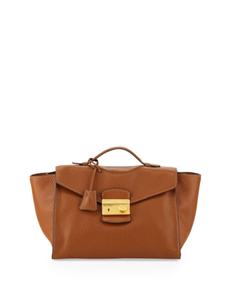 Daino Twin Pocket Satchel Bag, Medium Brown (Brandy)