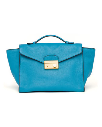 Daino Twin Pocket Satchel Bag, Light Blue