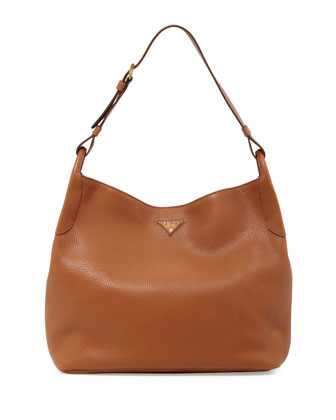 Vitello Daino Single-Strap Hobo, Medium Brown (Brandy)