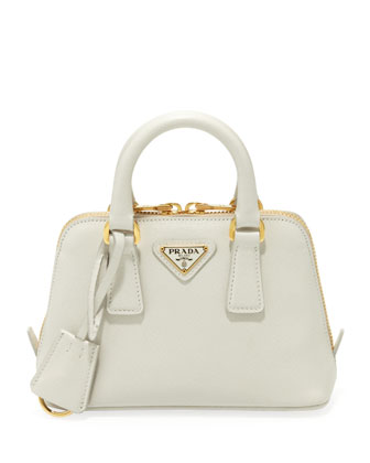 Saffiano Mini Promenade Crossbody Bag, White (Talco)