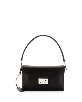Saffiano Shoulder Bag with Removable Crossbody Strap, Black