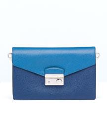 Saffiano Bi-Color Shoulder Bag, Blue (Bluette+Cobalto)