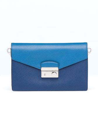 Saffiano Bi-Color Shoulder Bag, Blue (Bluette+Cobalto)