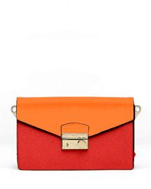 Saffiano Bi-Color Shoulder Bag, Red/Orange (Fuoco+Papaya)